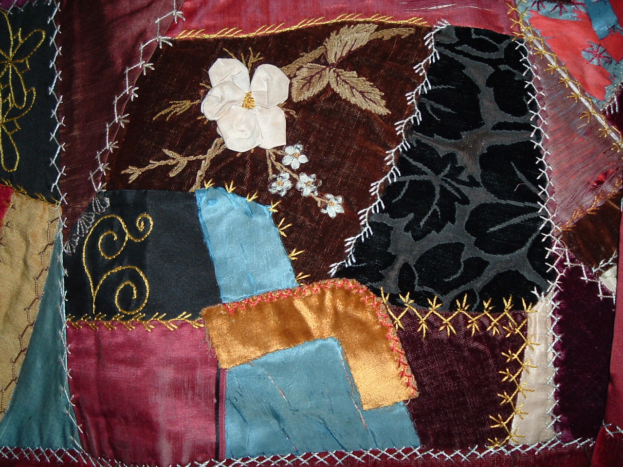 Crazy Quilt With Embroidery