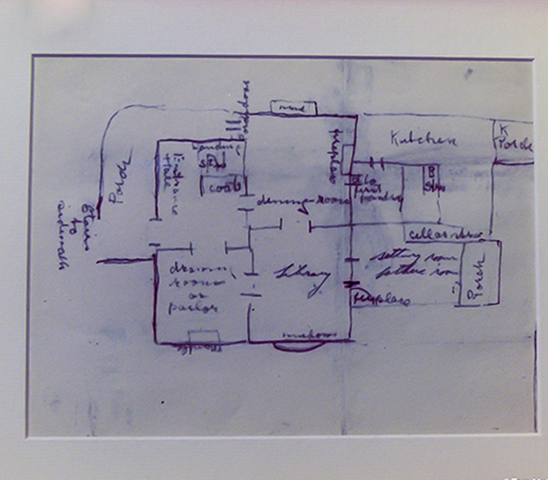 Drawing of the house layout by Helen Brown Benziger