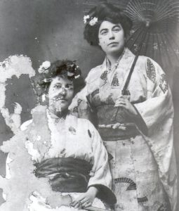 Margaret Brown and Mary Mulligan in traditional Japanese dress