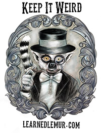 Black and white image of a cartoon lemur dressed in tux and top hat within fancy scrolling leaf frame