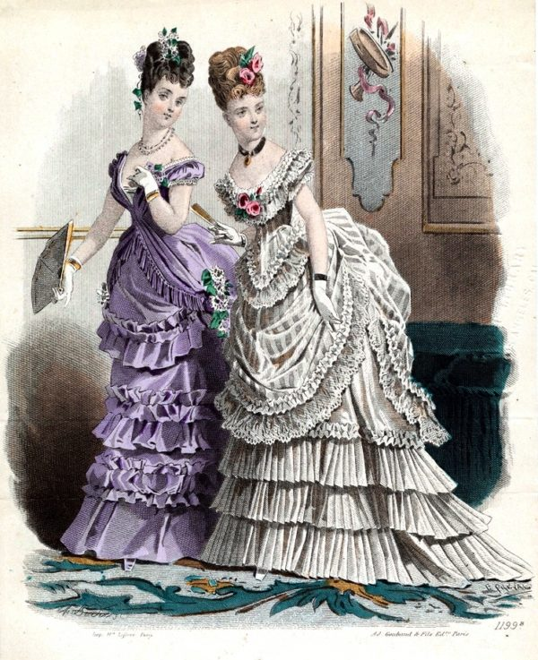 Two Victorian women in side view dressed for the evening looking over their shoulders