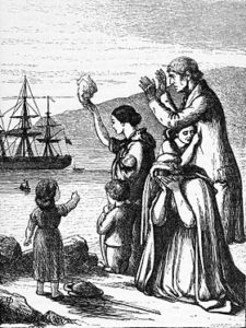Drawing of a family of Irish emigrants waving at a ship in the distance