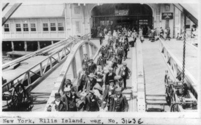 Irish immigrants arriving at Ellis Island
