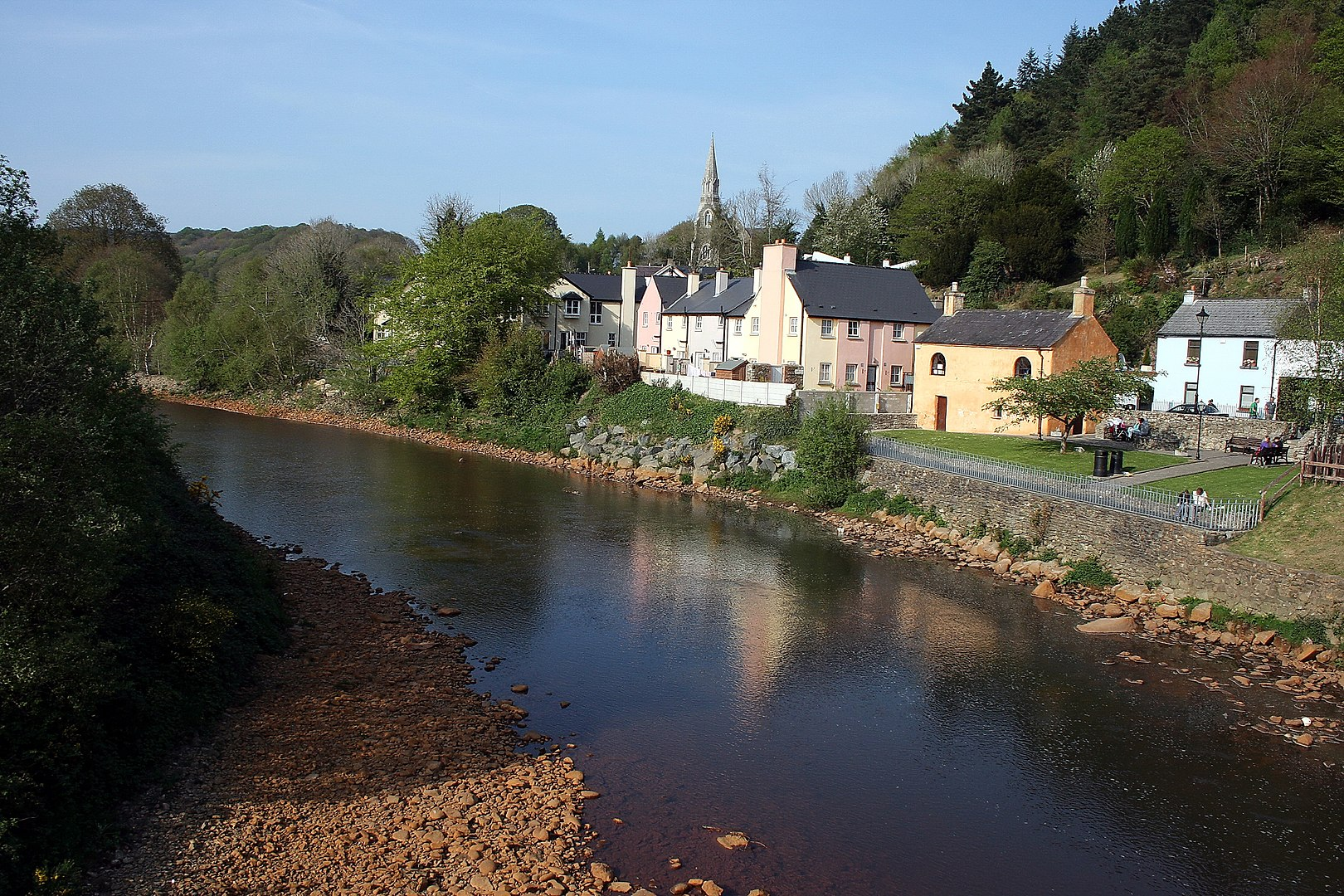 Photograph of Avoca River with village in the background