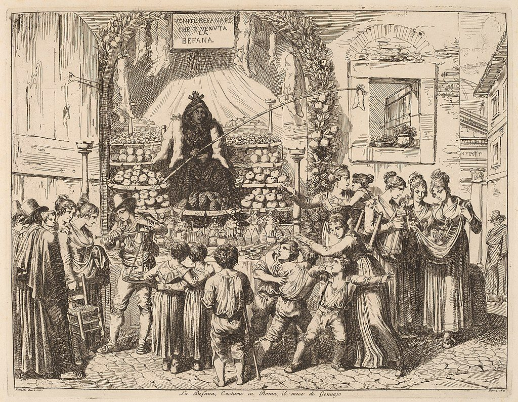 etching of La Befana surrounded by children and women holding gifts, circa 1821