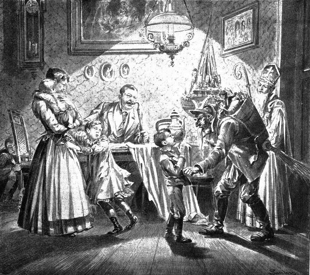 Nikolaus and Krampus in Austrian Newspaper illustration from 1896
