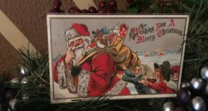 Progressive era postcard featuring Santa Claus with a bag of toys slung over his shoulder to serve as a link to registration page