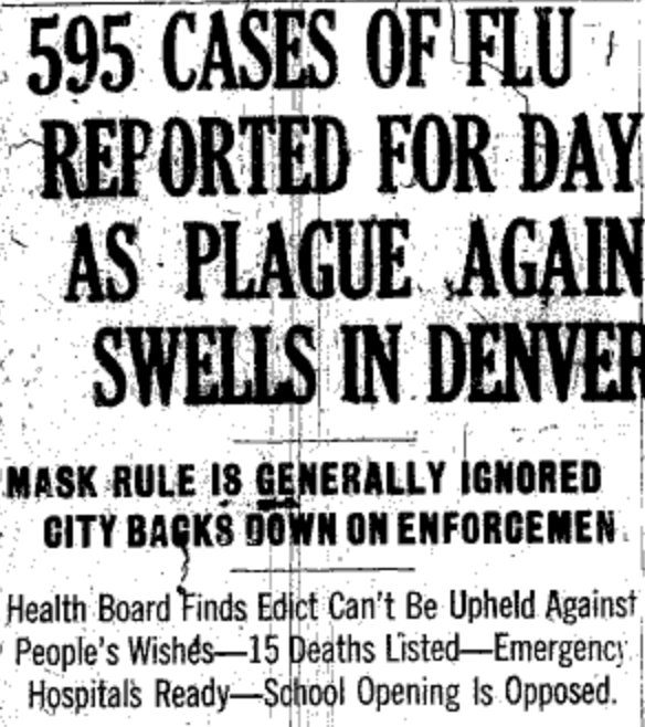 "Newspaper Headline, ""595 Cases of Flu Reported for Day As Plague Again Swells in Denver"""