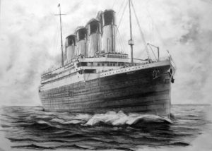 Pencil/charcoal drawing of the Titanic sailing. The view is of the bow of the ship. Smoke is trailing from the funnels.