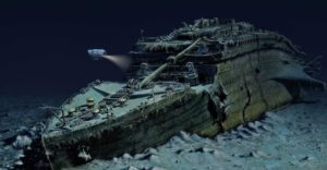 The wreck of the Titanic on the ocean floor.
