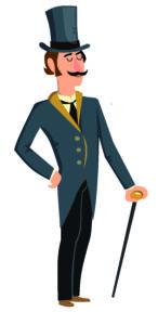 Cartoon Victorian man