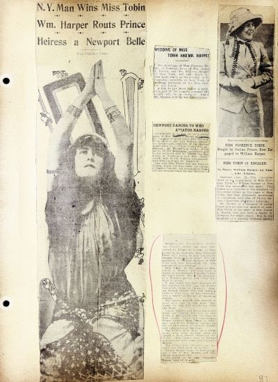 Helen Tobin scrapbook page with articles on her sister's rejection of the prince.