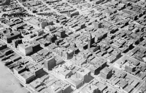 Aerial image of Denver's downtown, including the D&F Clocktower. Black and white photograph