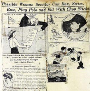 Newspaper clipping showing Margret boxing, swimming, and pleading with a judge.