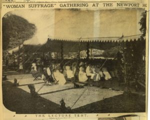 """Newspaper clipping showing the """"Lecture Tent"""" at Marble House"""