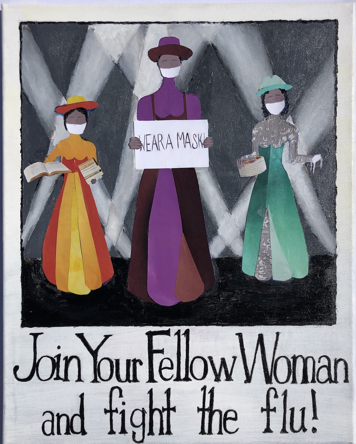 """Three women standing in front of spotlights; faceless but each wearing a mask. The center woman is holding a sign saying, """"Wear your mask"""""""