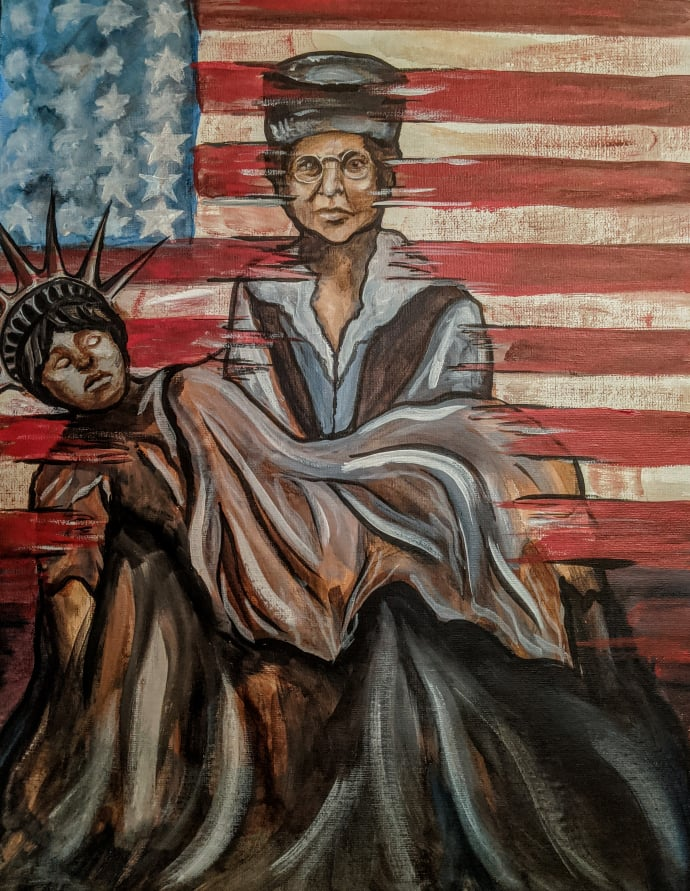 Depicts Colorado's own suffragist, Dr. Caroline E. Spencer holding Lady Liberty closely in her arms in the style of the Pieta in front of the American flag.